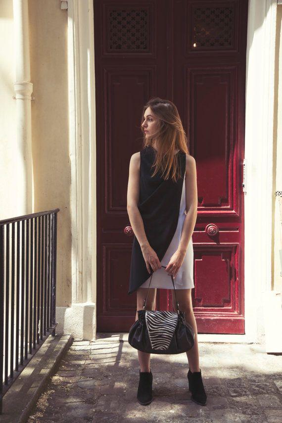 Sac à main Noir pour femme avec rabat en cuir vachette imprimé zèbre  fabriqué en France 4e8dc2446bd