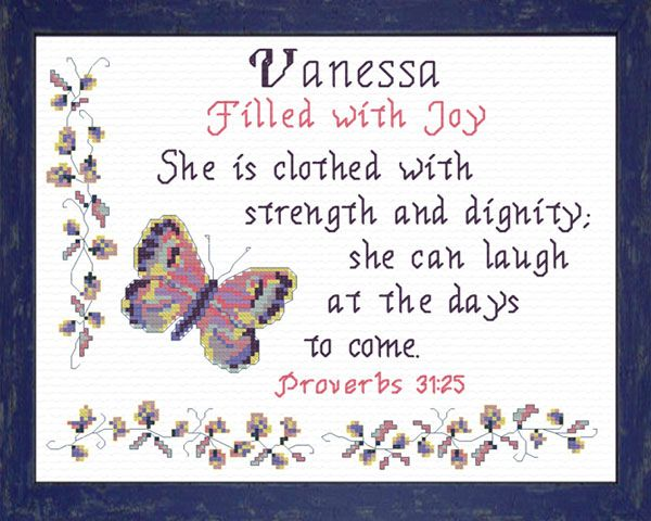 Cross Stitch Vanessa with a name meaning and a Bible verse | Name