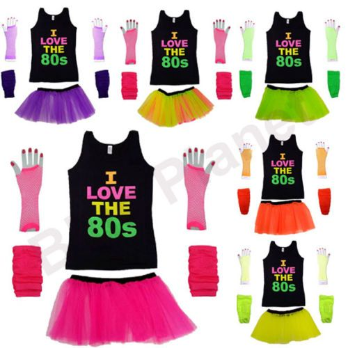 Neon Tutu Skirt T Shirt Gloves Legwarmer 1980s 80s Fancy