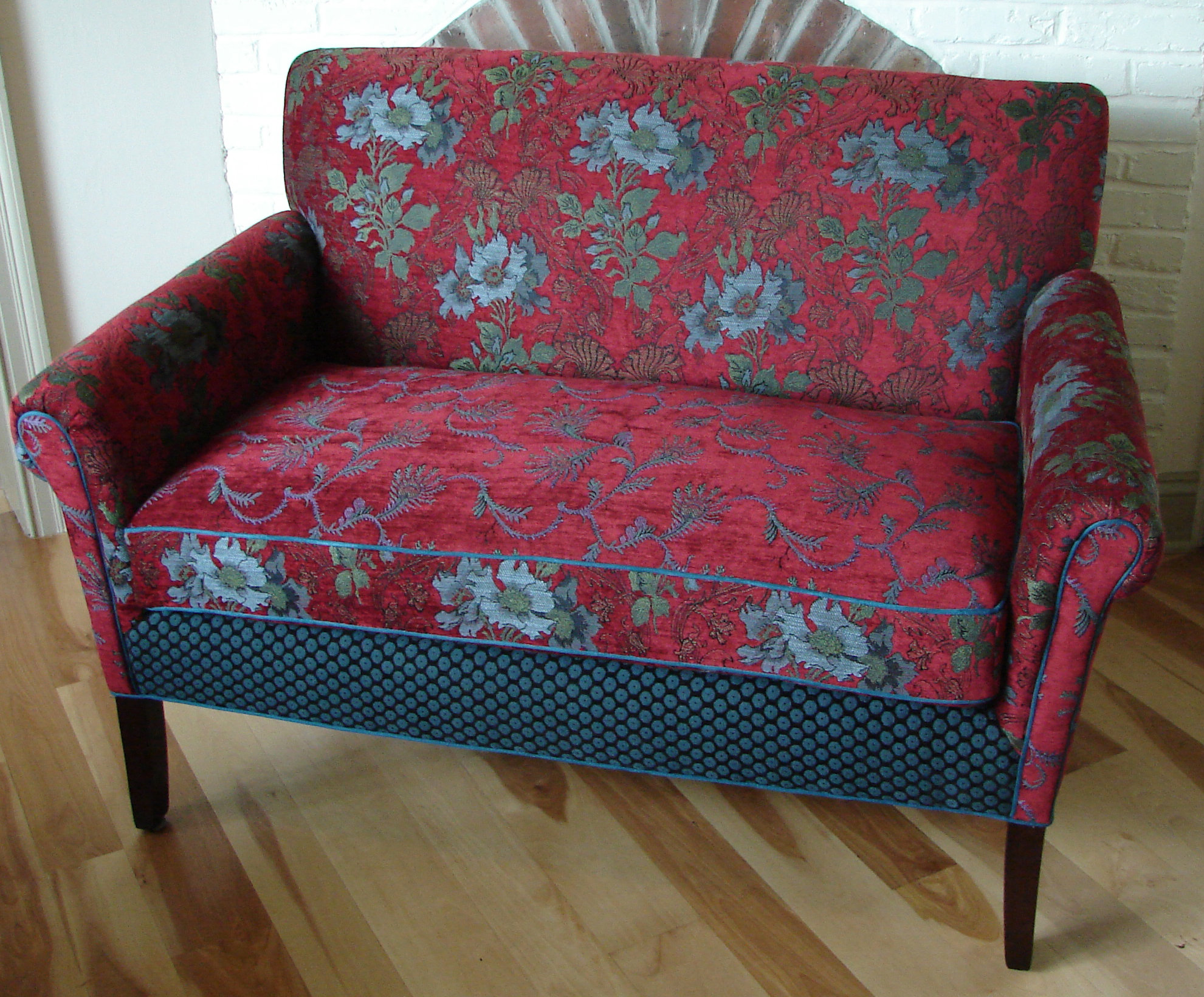 Salon Settee In Red Wine By Mary Lynn Oshea Upholstered