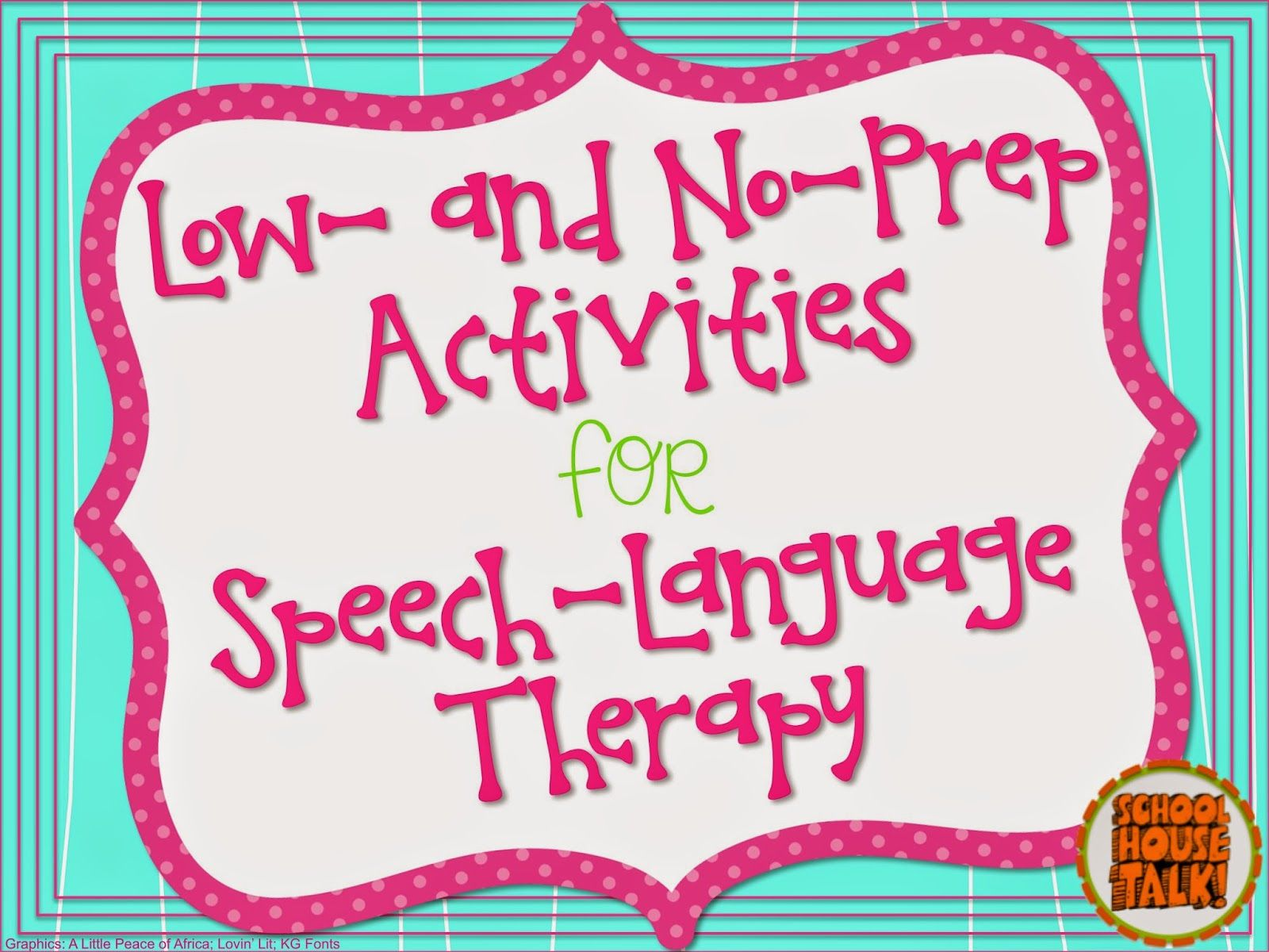No Prep Speech Therapy Activities Sorted By Grade Level