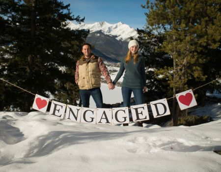 Sapphire Point Overlook Winter Colorado Proposal Engaged Sign Square Wood Peices