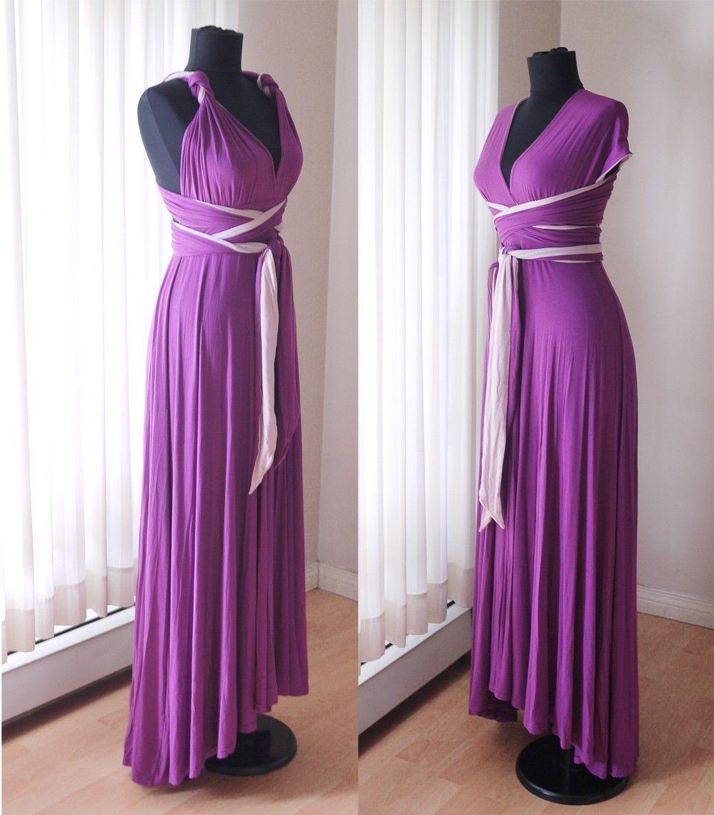 Two Tone Convertible/Infinity Dress - Floor Length