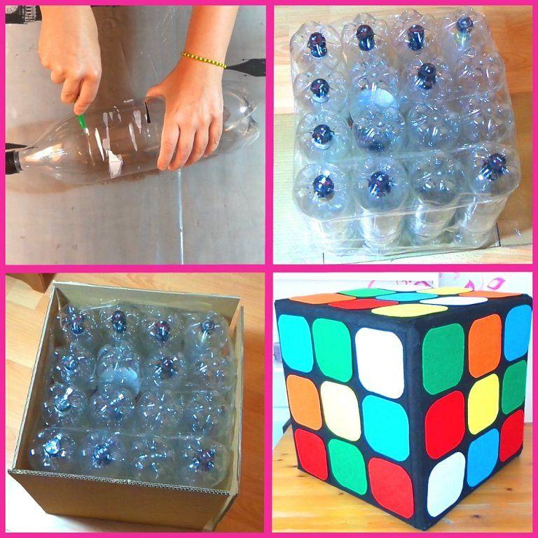C mo hacer un puff con botellas inspirado en el cubo de - Como rellenar un puff ...