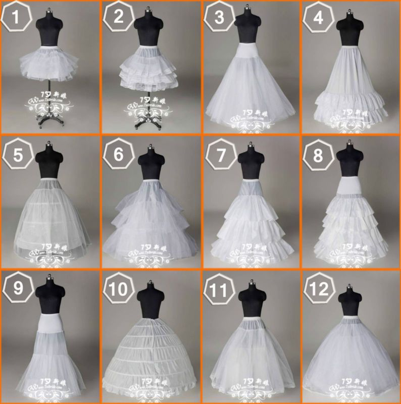 New 12 Styles Wedding Bridal/Hoops/Hoopless Petticoat Slips ...