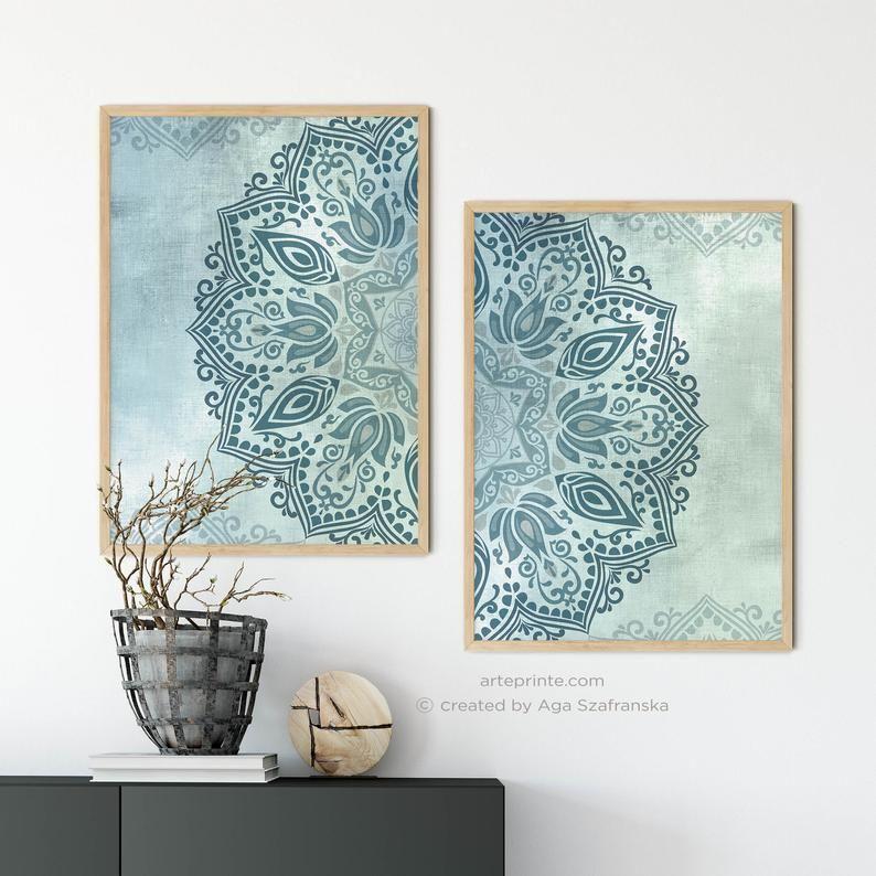 3 Piece Blue White Mandala Printable Wall Art Boho Bedroom Living Room Decor Instant Download Large Wall Art Set of 3 Downloadable Prints