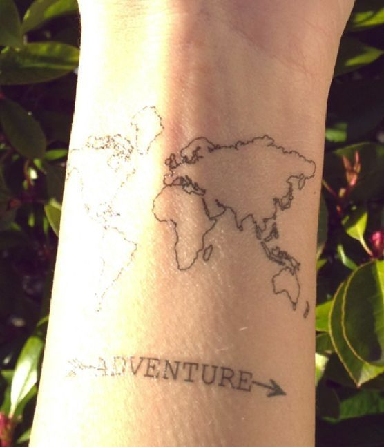 Im not sure about the map part of this but i love the word world map adventure tattoo gumiabroncs Image collections