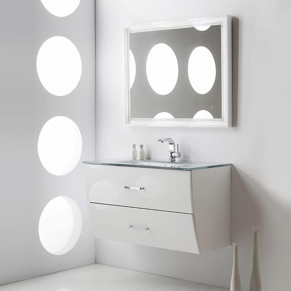 Fresca Platinum Wave 40 Inch Glossy White Modern Bathroom Vanity