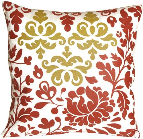 Bohemian Damask Red White And Ocher Throw Pillow Moodboard Magnificent Red And White Decorative Pillows