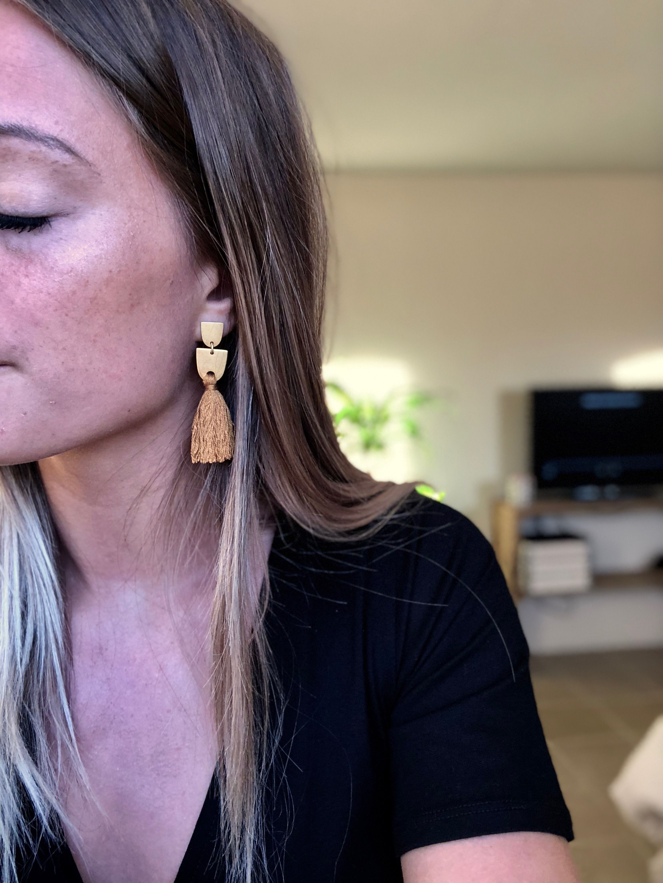 db22e323d Madewell mustard yellow tassel earrings with gold geometric studs ...