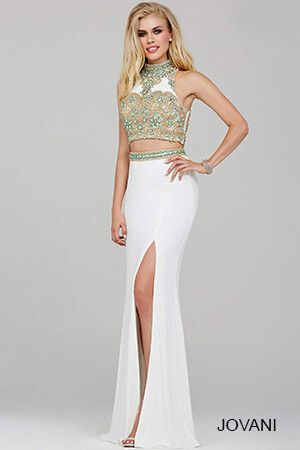 White Two-Piece Jersey Prom Dress 31408 | Prom 2016 | Pinterest ...