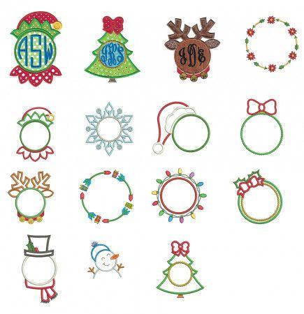 Christmas Monogram Frames Applique Christmas Monogram Monogram Frame Machine Embroidery Christmas