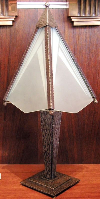 Art Deco French Iron Table Lamp