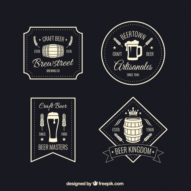 Retro beer badges Free Vector | Beer | Pinterest | Badges and Beer