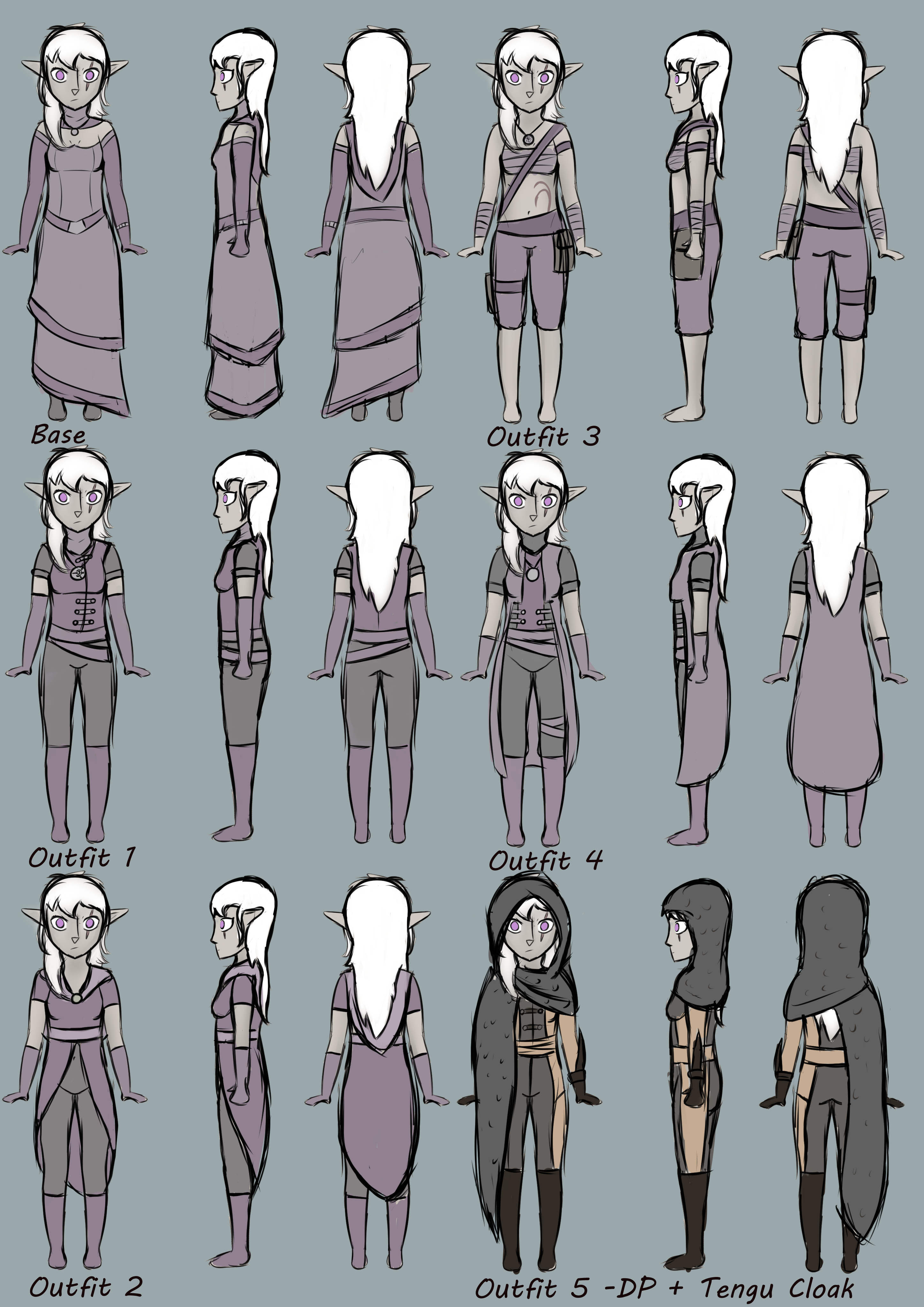 A little collection of different outfits of my half-elf npc