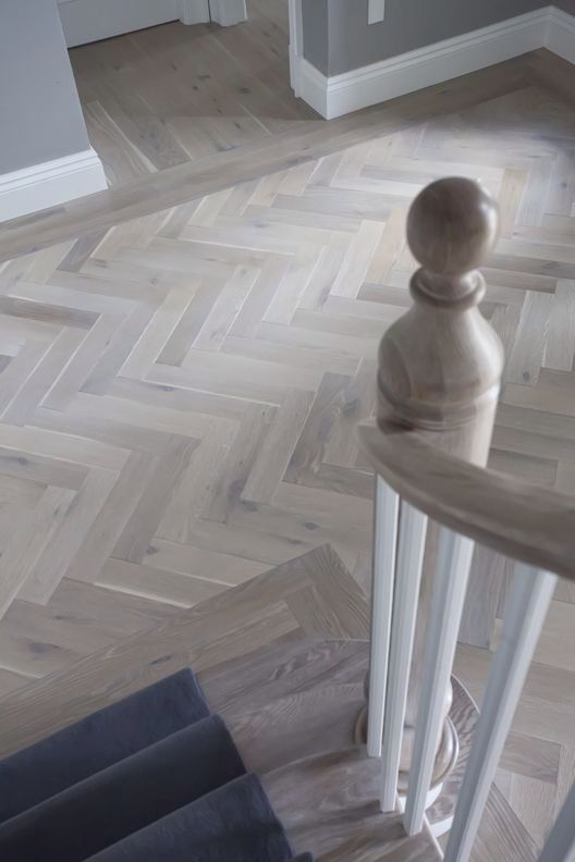 Pale Version Of Herringbone Floor With Border And Adjoining Space