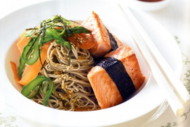 Mouth-watering Asian flavours spring to life in this super-healthy salmon with nori and sesame soba noodles main.