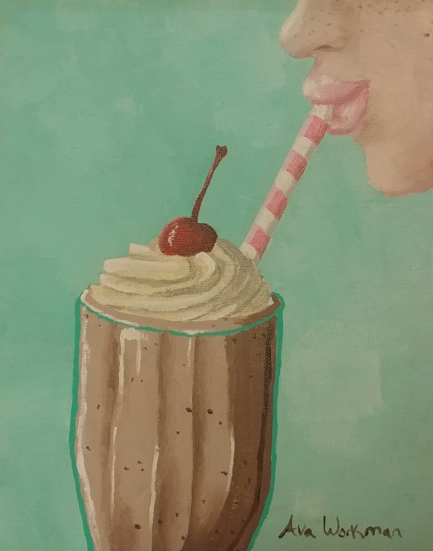 Vintage Milkshake Painting Diner Style Acrylic Painting Aesthetic Painting Diner Sign Painting
