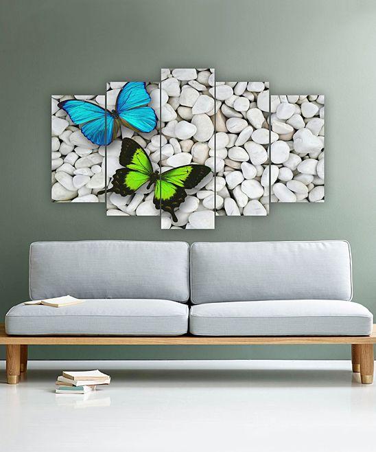 Butterflies & Stones Five-Panel Wall Art