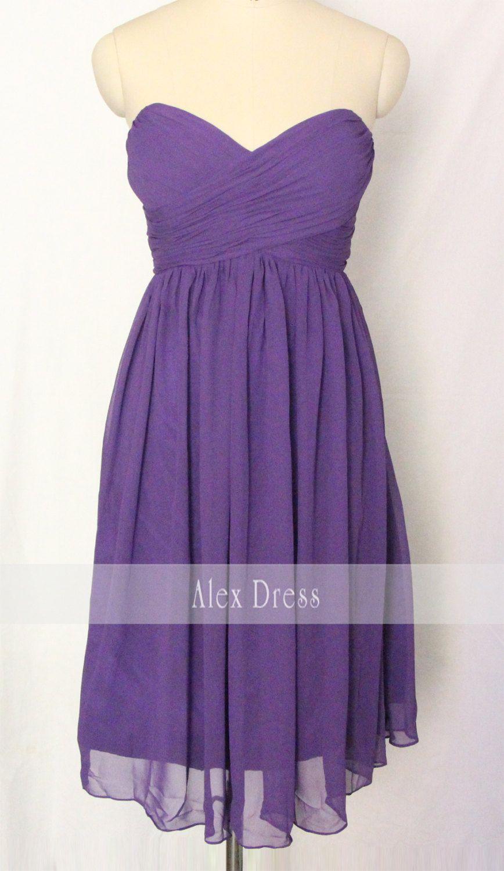 Purple Short Strapless Bridesmaid Dress Chiffon by AlexDress | My ...