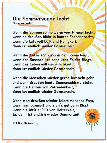 Die Sommersonne lacht | Gedichte Geschichten ...