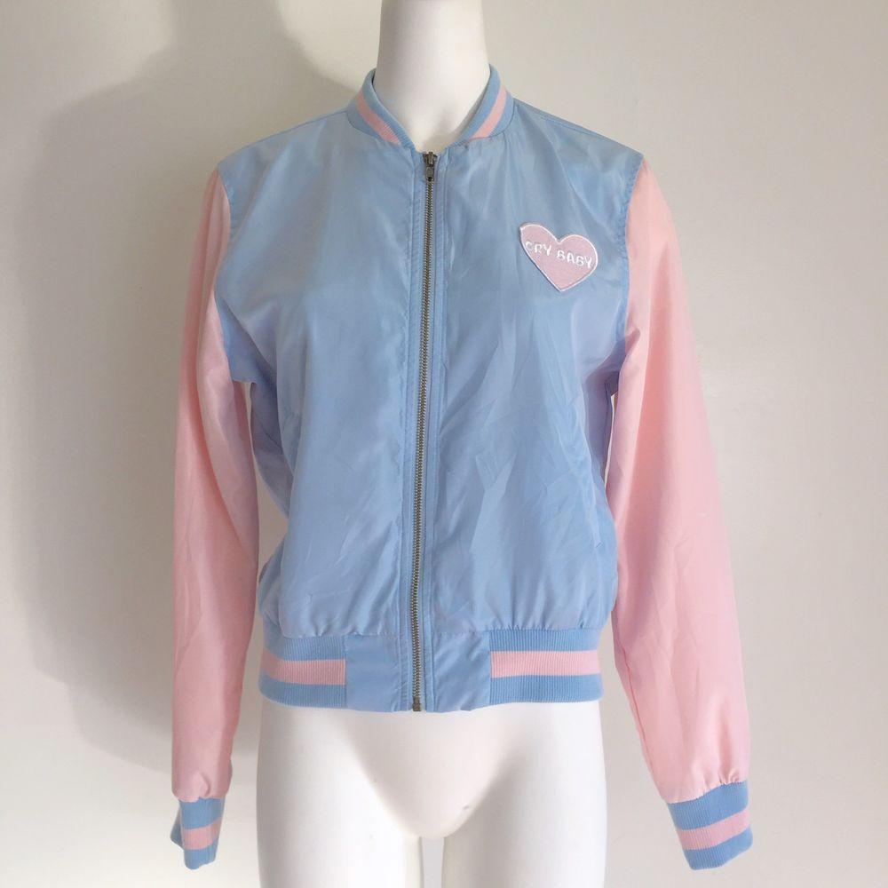 Melanie Martinez Womens Bomber Jacket M Cry Baby Pastel Lined Pink Blue Graphic Bomber Jacket Women Jackets Satin Bomber Jacket