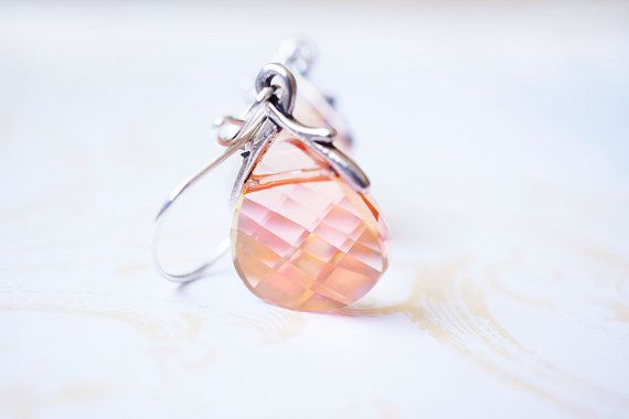 Summer Blush Swarovski Crystal Flat Briolette Sterling Silver Earrings by Story Girl Creations