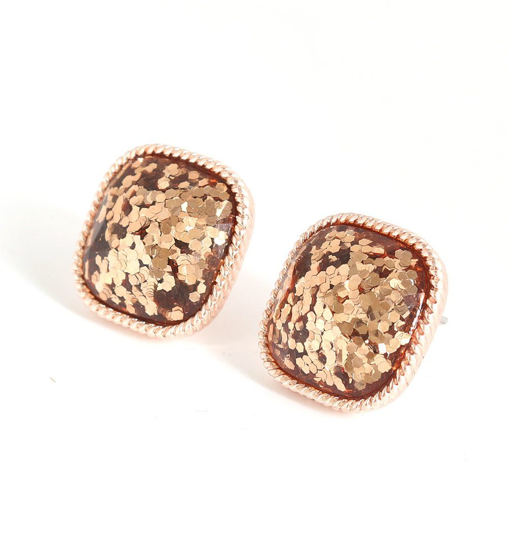 749f3a60d Boderier Faceted Square Glitter Stud Earrings Rose Gold Druzy Post Earrings  Studs (Rose Gold) #affiliate #glitter #earrings