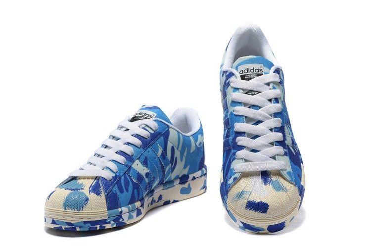 Adidas Superstar II Azul Camuflaje originales hombre  womans zapatos