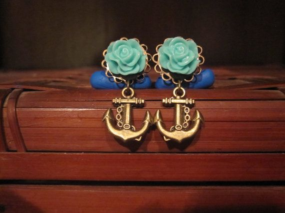 Pair of Turquoise Ruffled Rose Plugs with Anchor Charms - Handmade Girly Gauges - 4g, 2g, 0g, 00g, post earrings on Etsy, £15.10