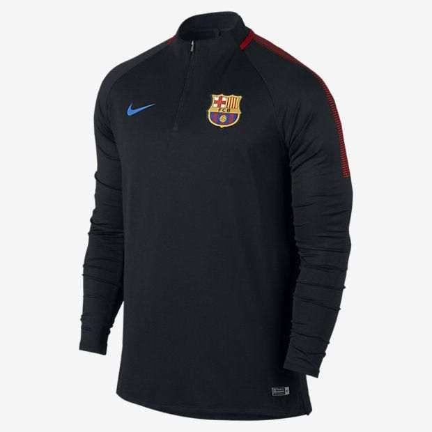 NIKE FC BARCELONA DRY SQUAD DRILL TRAINING TOP 2017 18  Black Black University Red Soar. 015bcc74372