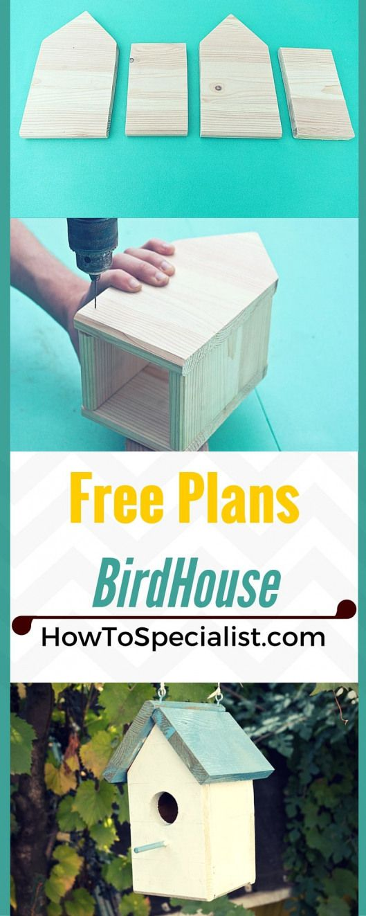 Free Birdhouse Plans - Learn how to build  beautiful birdhouse so you can attract singing birds to your garden! howtospecialist.com #birdhouse #diy #kidswoodcrafts #howtosing