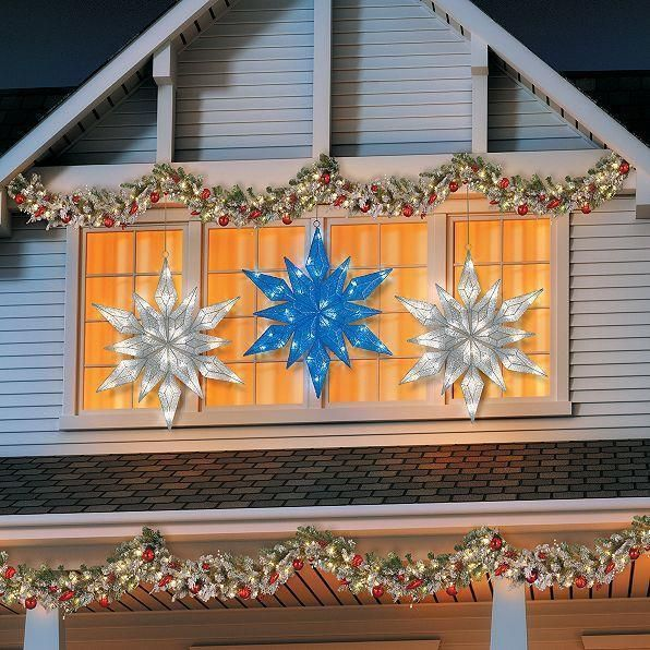 36 Lighted Pre Lit Led Hanging Snowflake Outdoor Christmas Decor Blue Or White Ebay