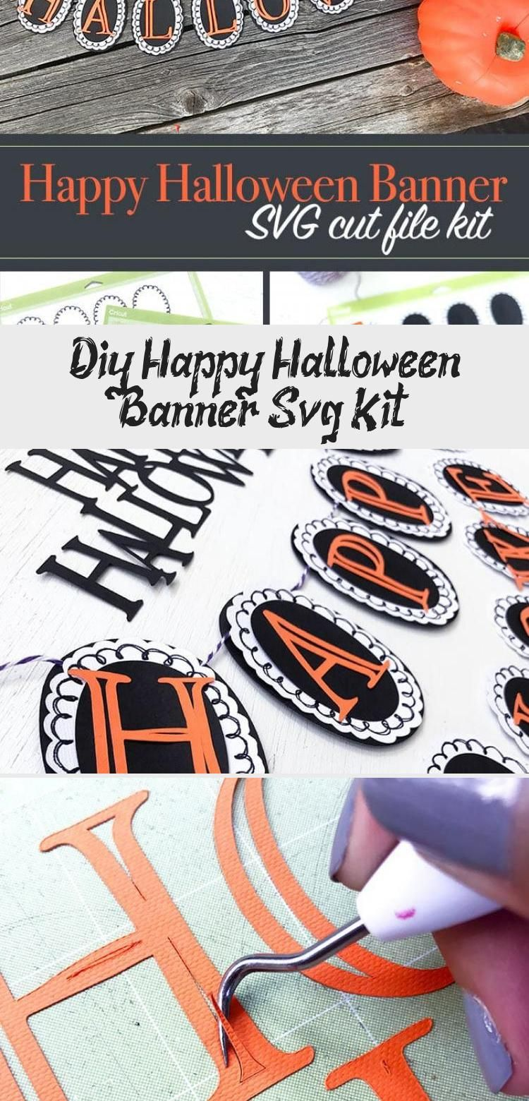 DIY Happy Halloween Banner SVG Kit - 100 Directions #bannerLogo #bannerDecor #bannerBts #SocialMediabanner #bannerVintage #happyhalloweenschriftzug