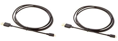 Amazon Basics USB 2.0 A-Male to Micro B Charger Cable (2 Pack), 6 feet, Black