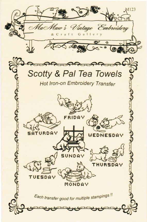 Scotty Dog Hand Embroidery Iron-on Transfer Patterns