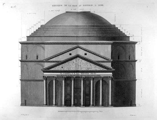 This is the main elevation of the Pantheon in Rome, drawn ...