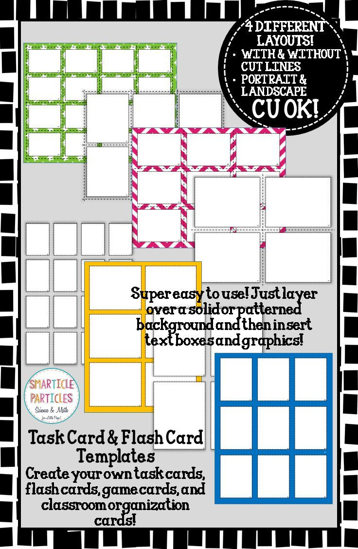 Task Card  Flash Card Templates  Commercial Use Ok  Template