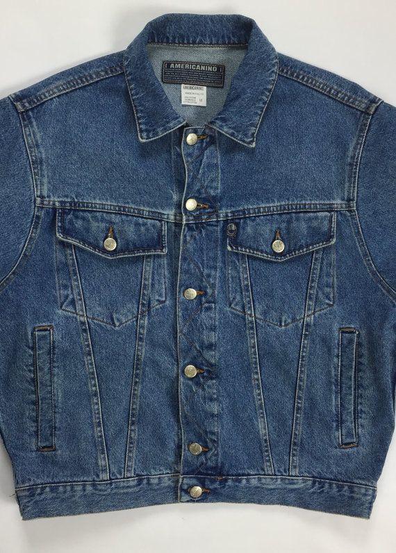 VINTAGE Da Donna Mid Blue giacca di jeans manica lunga Casual Regular Fit Jean Stile