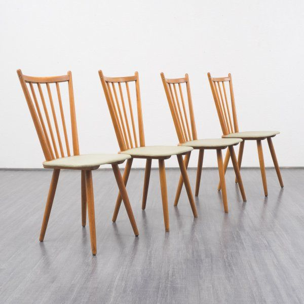 Velvet-Point - stühle Vierersatz 50er Jahre Stühle in Buche massiv ...