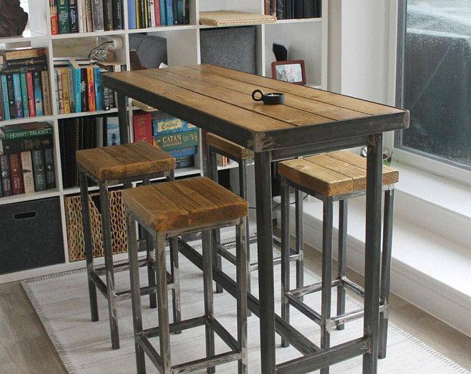 Handmade Bespoke Modern Long Narrow Bar Table And Stools Custom Made Steel Metal Wood Rustic Breakfast Cafe Restaurant