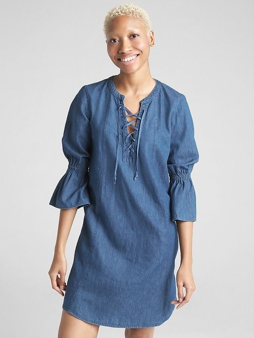 79ccc613c64 Gap Womens Bell-Sleeve Lace-Up Denim Dress Medium Indigo
