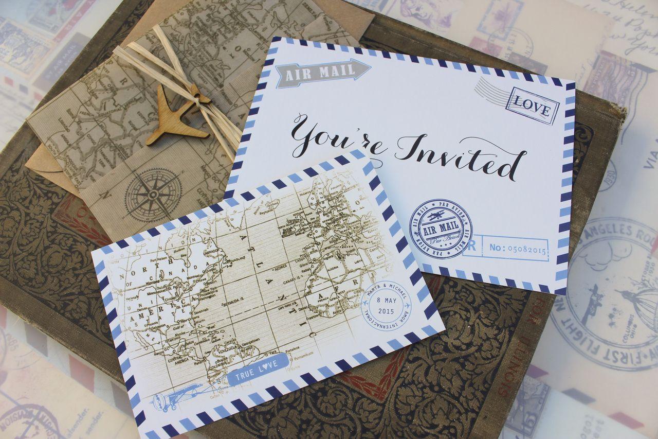 Vintage Air Mail Postcard Wedding Invitation | Invites | Pinterest ...
