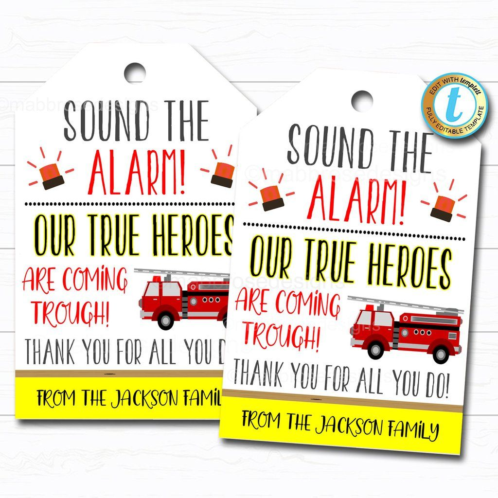 Firefighter appreciation gift tag thank you gift first