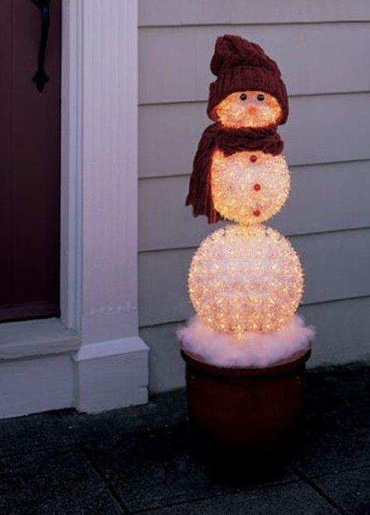Trim A Home® 50\u201d Lighted Snowman Outdoor Christmas Decoration - outdoor snowman christmas decorations