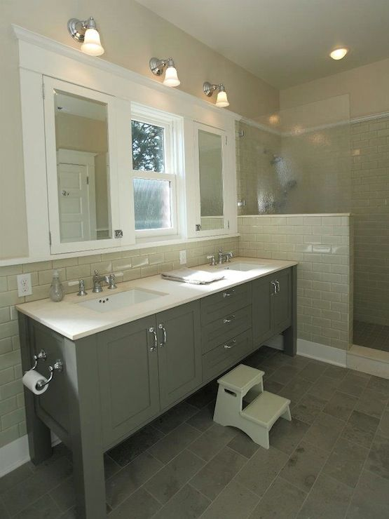 JAS Design Build - bathrooms - gray bathroom, gray and gray bathroom, beige walls, gray subway tile, gray subway tile backsplash, staggered ...