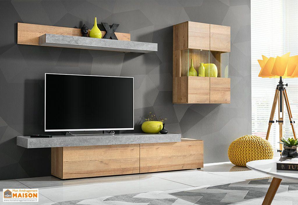 ensemble meuble tv en bois concret