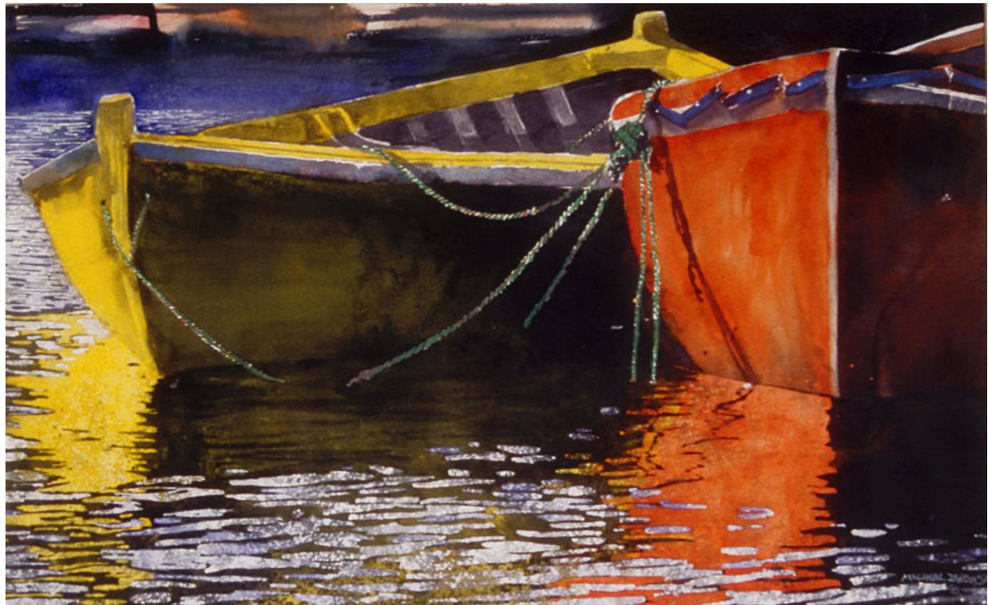 """red n yellow dories nova scotia 20"""" x 30"""" micheal zarowsky watercolour on arches paper / private collection"""
