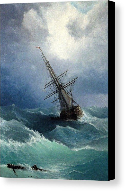 Storm Canvas Print Canvas Art By Mikhail Savchenko Ship Paintings Seascape Paintings Ship Art