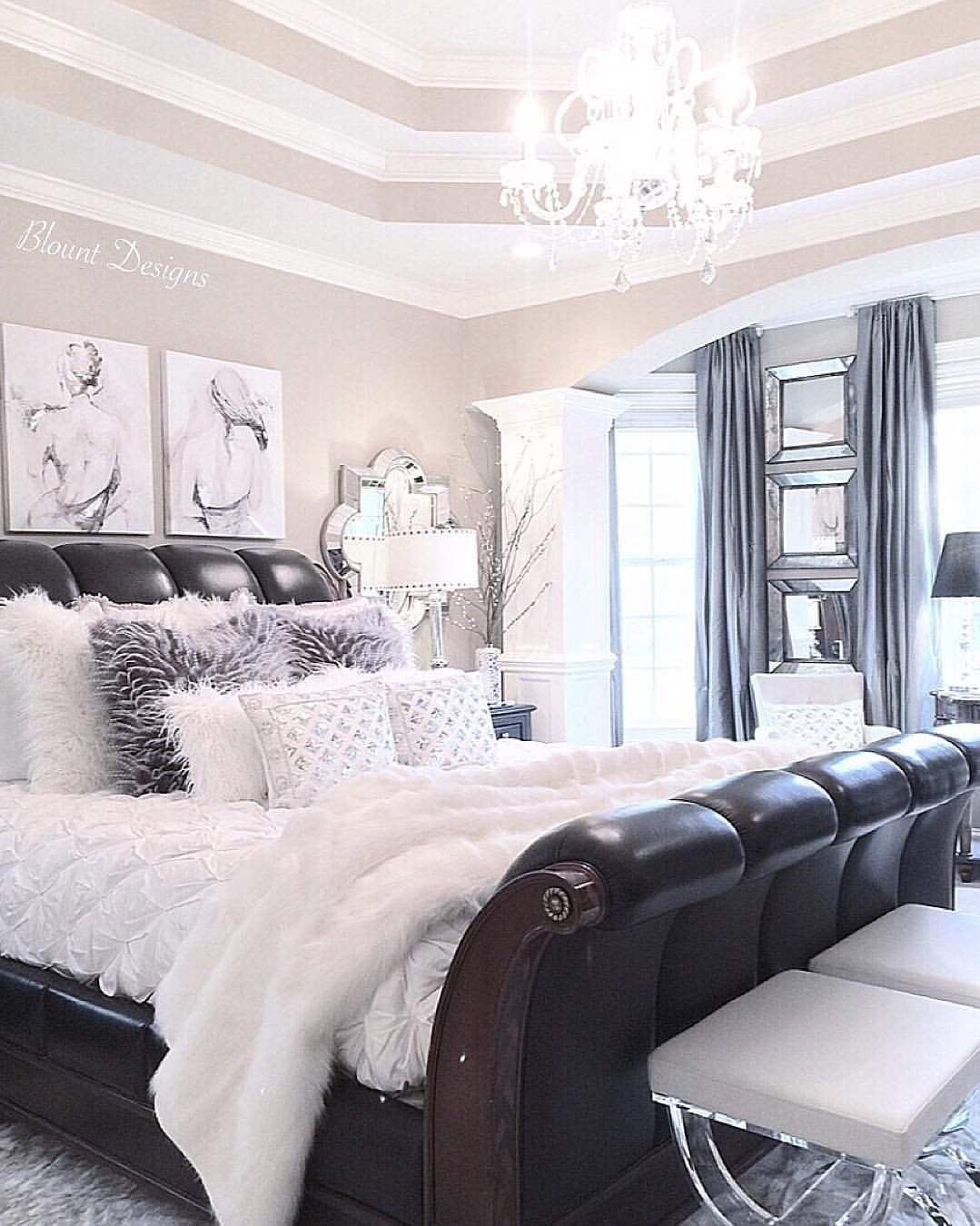 50 classic glam bedroom designs that are utterly for Modern master bedroom ideas pinterest